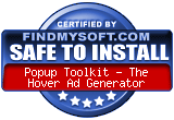 Safe to Install award from FindMySoft.com